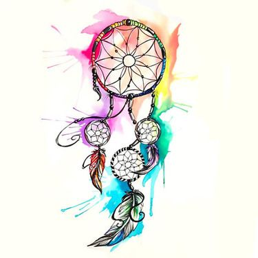 Watercolor Dreamcatcher Tattoo Design