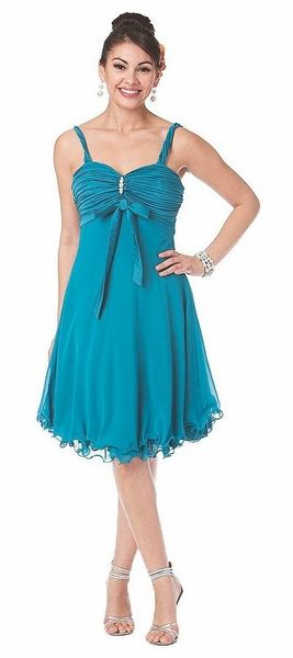 Teal Green Cocktail Dress Short Knee Length Chiffon Gown Bow Brooch