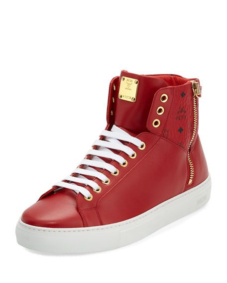 MCM Collection Leather High-Top Sneaker, Red. #mcm #shoes #
