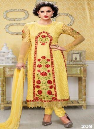 Elite Yellow Pure Chiffon Designer Churidar Suit http://www.angelnx.com/Salwar-Kameez