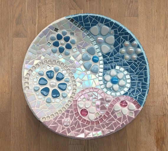 Glass mosaic dish in pink and baby blue on white by mimosaico