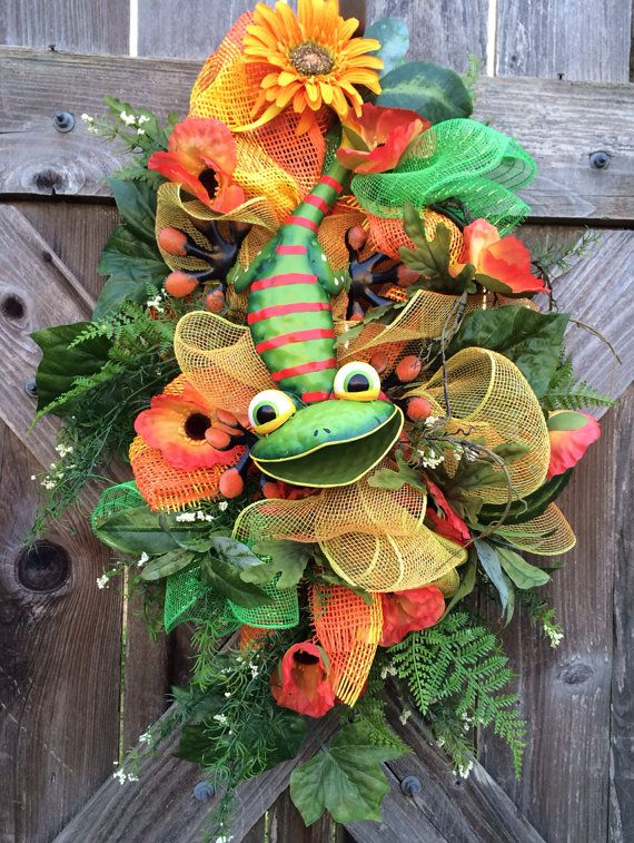 Spring Swag Spring Wreath Summer Swag Funky Lizard by BaBamWreaths, $72.00