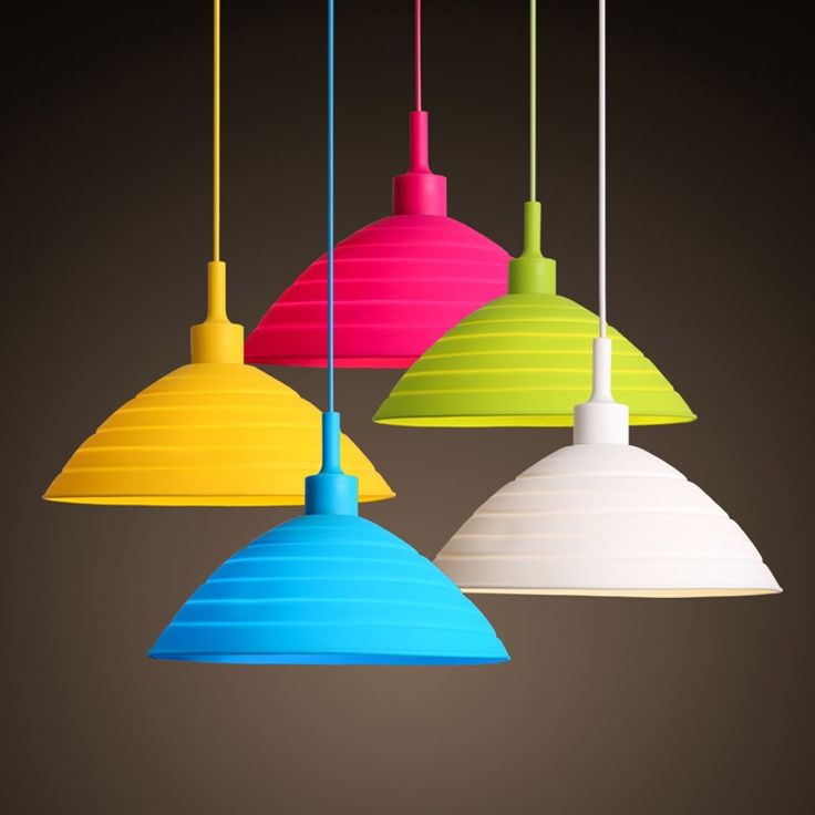 """11.8"""" $50 This multicolor single light pendant light is made of silicone which is a healthy material and it has no harm to people. Featured in a bowl light shade and colored cable and canopy, it will add bright and wonderful accent to your room. Offered in five different colors, it can satisfy a wide range of demands of customers. What is more,"""