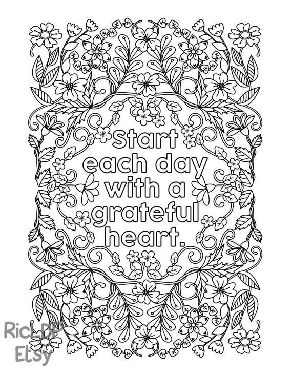 Start Each Day with a Grateful Heart - Adult Coloring ...