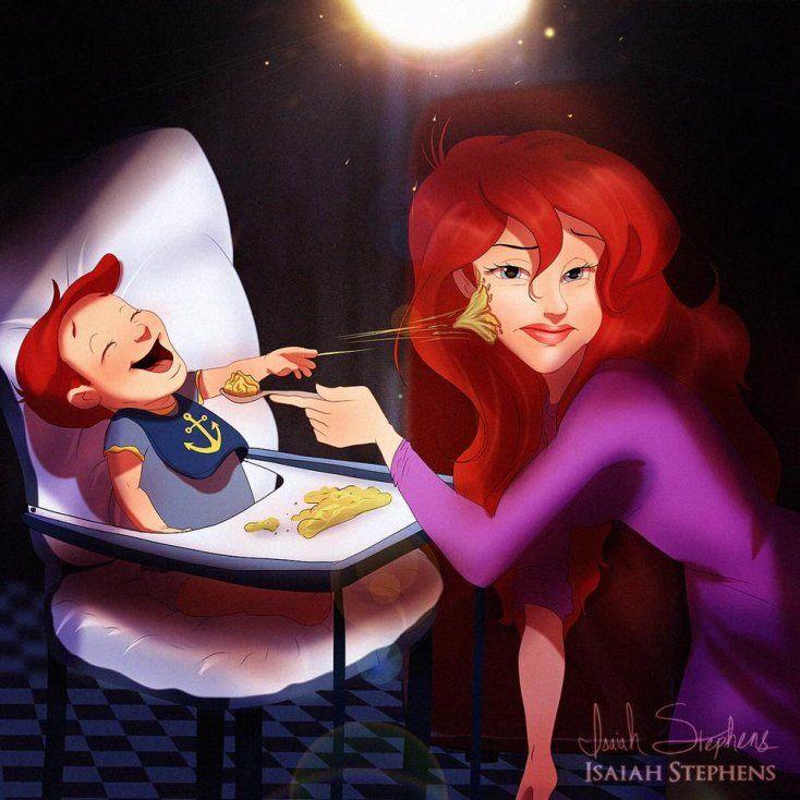 Las últimas escenas del 99% de las películas animadas de Disney demuestran el casamiento de los protagonistas, y prometen que los dos van a vivir felices y comer perdices... Casi nunca, sin embargo, podemos ver cómo corren las vidas de los personajes después de la fiesta de boda. El artista estadounidense, Isaiah Stephens,