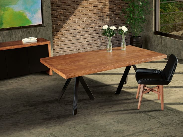 SYDNEY contemporary dining table in solid oak wood top and metal legs