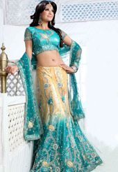 Cream and Turquoise Net Lehenga Choli with Dupatta