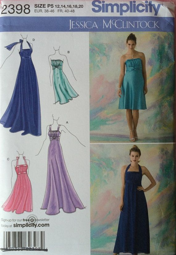 Jessica McClintock Simplicity 2398 Misses Special Occasion Dresses in Two Lengths UNCUT