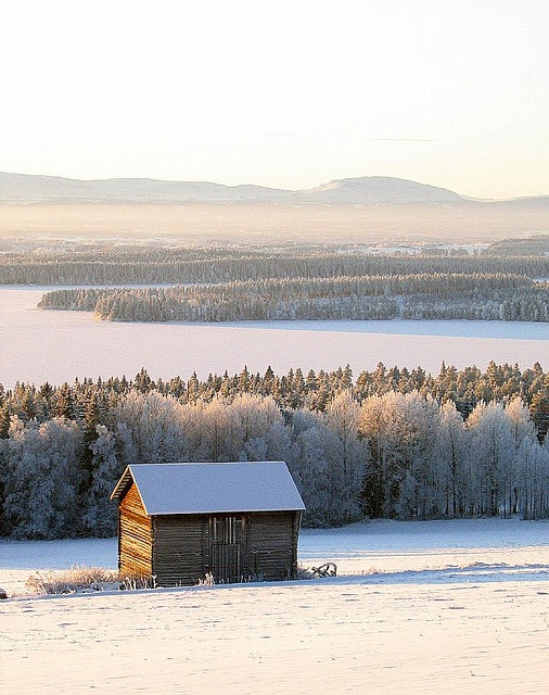Barn With a Mountain View, Swedish Winter.