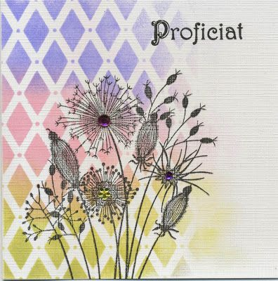 Woodware stamp, Joy embossing folder, Distress inks: Shabby shutters, Spun sugar and Shaded lilac.