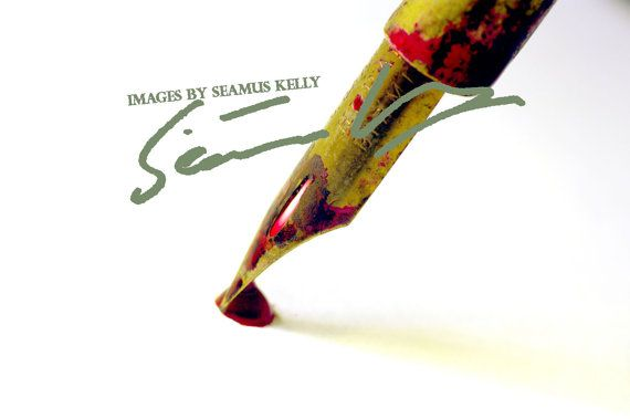 Vintage Dip Pen with red ink  Instant by ImagesBySeamusKelly