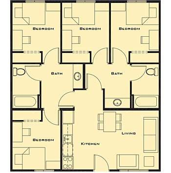 Small 4 bedroom house plans free home future students for 4 room 2 bathroom house
