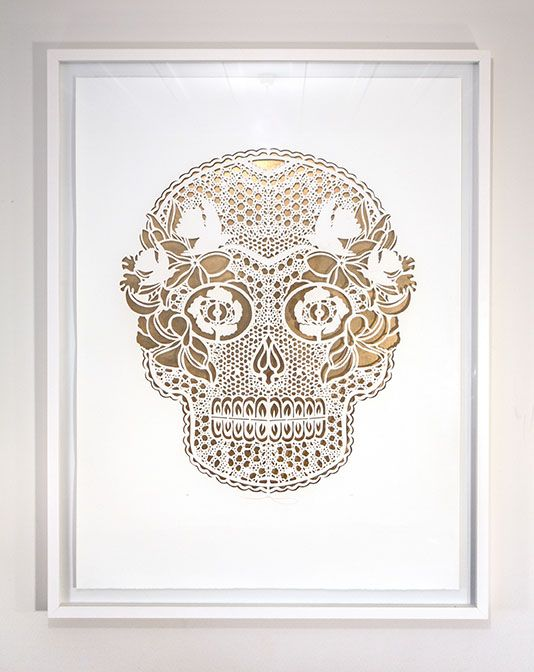 MEXISKULL IN THE CUT | Hand Cut: $3500 700mm x 1000mm Edition of 10: White Box Frame, Float Mount $400 | Flox.co.nz