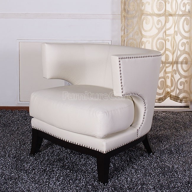 Eclipse Club Chair (Creme Vinyl) Armen Living LC734CLCR   Furniture Cart