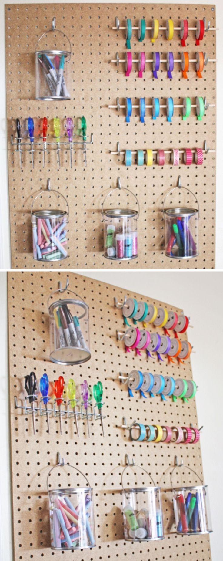 Craft room organization ideas - Pegboard Craft Room Storage Idea