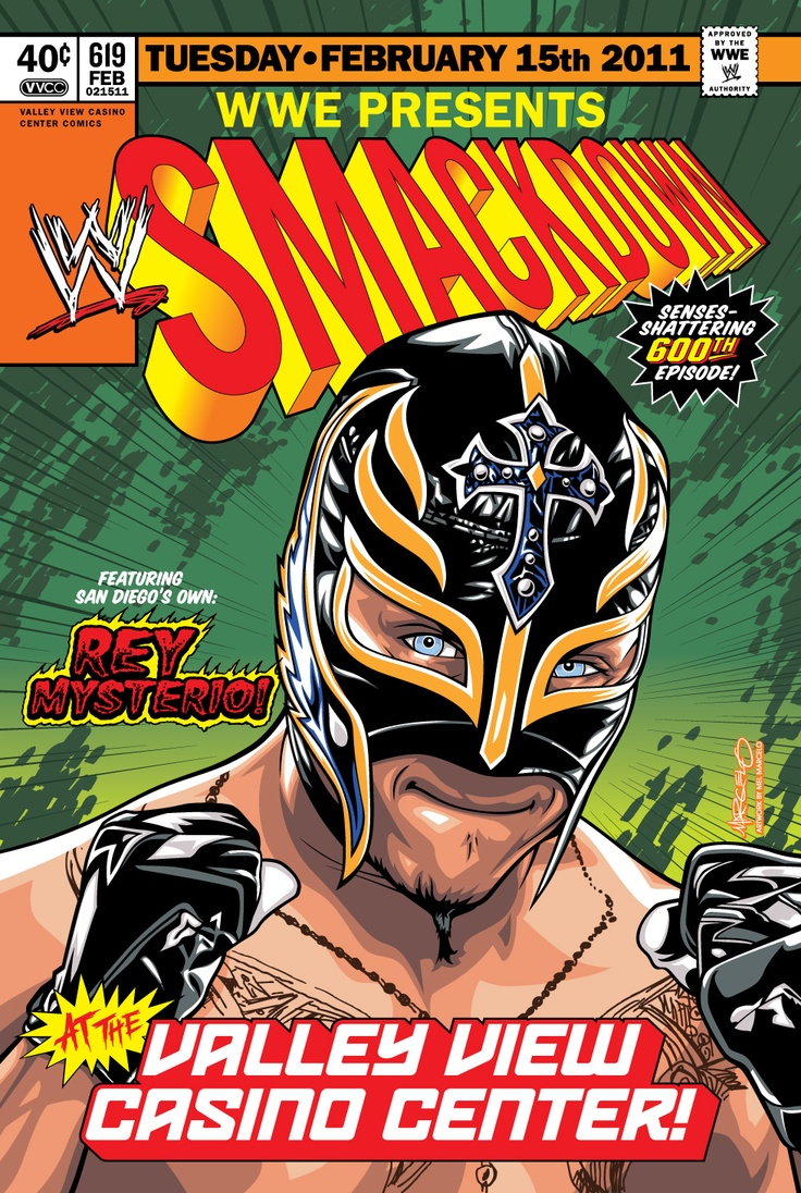 Commemorative poster for the WWE Smackdown at the Valley View Casino Center on Feb. 15, 2011. Artwork  by Mel Marcelo.  Featured San Diego's own Ray Mysterio! www.valleyviewcasinocenter.com