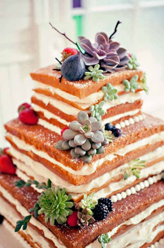 I love this concept: The naked wedding cake.