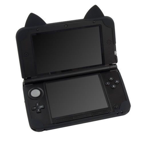 New Silicon Soft Case Cover For Nintendo 3DS XL With Cat Ears Skin black #cyber