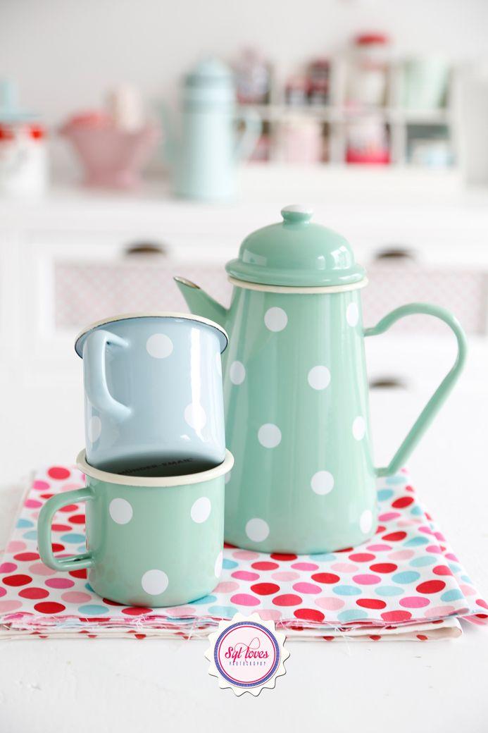 Syl loves, minty, mint, polkadot,  pastel love, enamel, retro, #kitchen