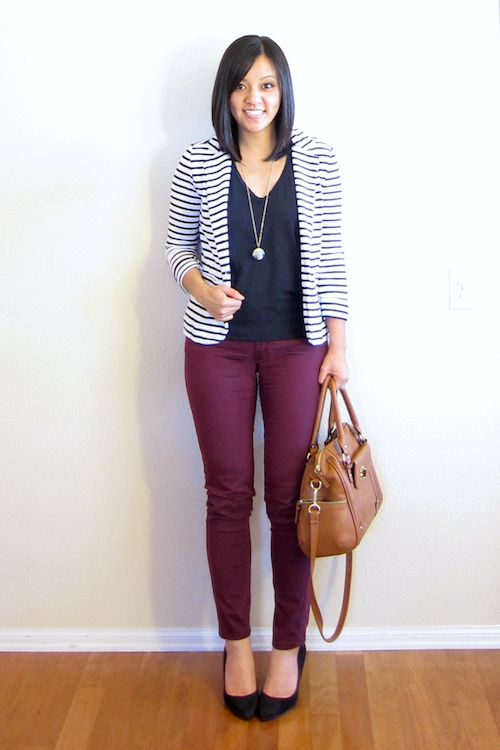 (fall/spring/work) black top, striped blazer, maroon/wine-colored skinnies, black pumps, long necklace from Putting Me Together