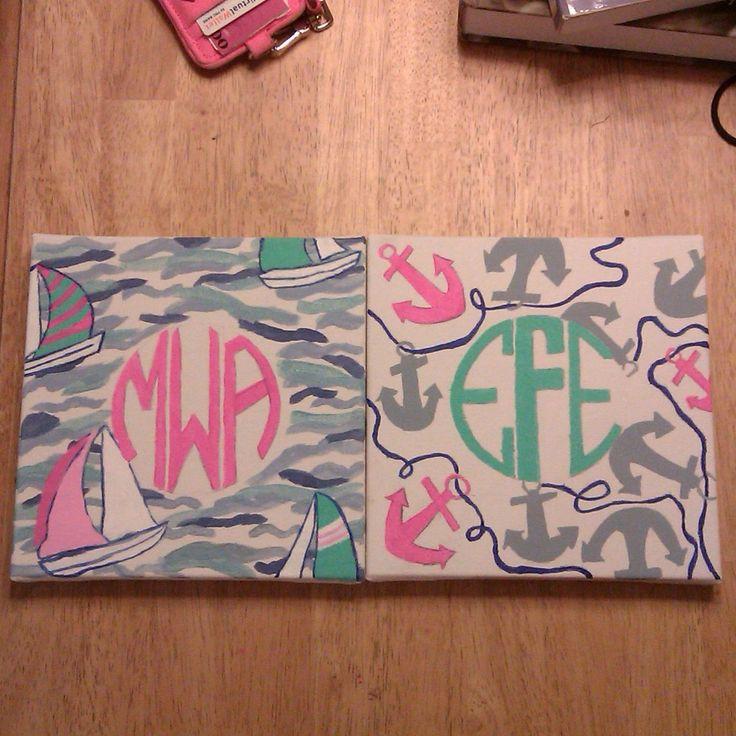 hand painted lily pulitzer door signs, complete with monograms!  michaelaaugusta