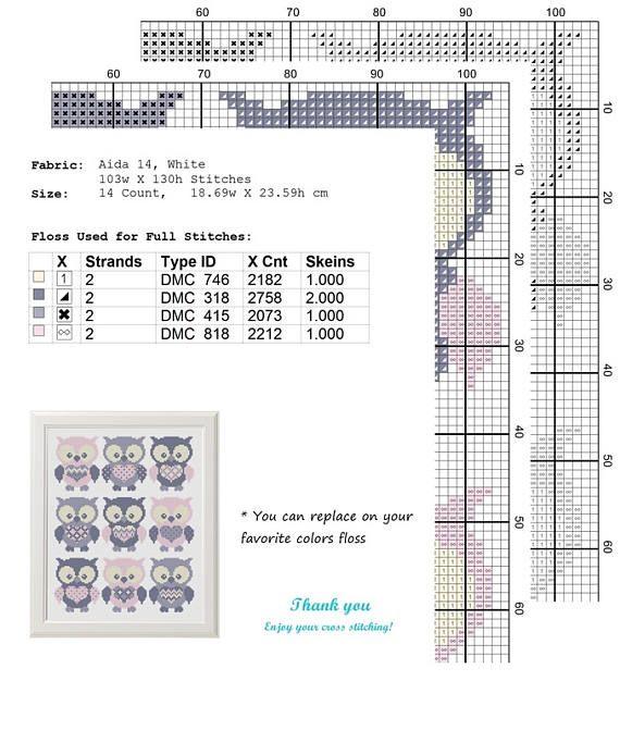 uil dwars steek patroon Set van 9 dier sampler kruissteek