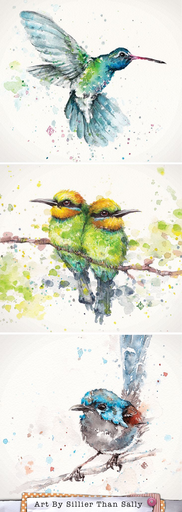 Watercolor Bird Art By Sillier Than Sally. Hummingbird, Rainbow Bee Eaters and Fairy Wren.