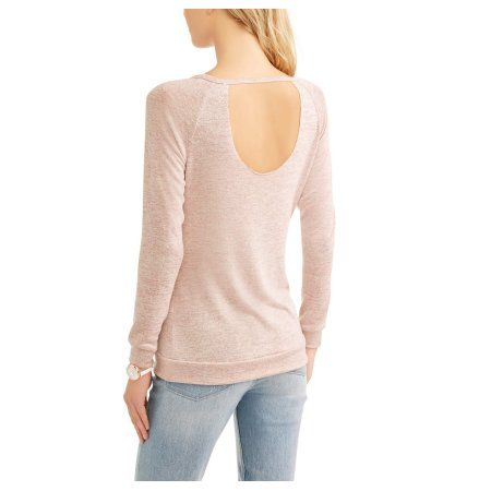 No Comment Women's Cozy Scoop neck Open Back Sweatshirt, Size: Medium, Pink