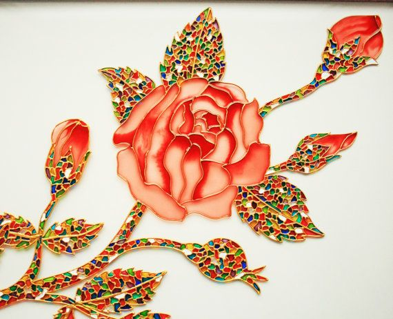 Rose Glass Painting FREE SHIPPING glass art vitrage by GlasssMagic
