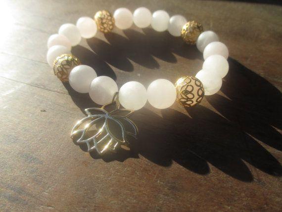 Rose Quartz Bracelet with Lotus Charm by StayingGrounded on Etsy