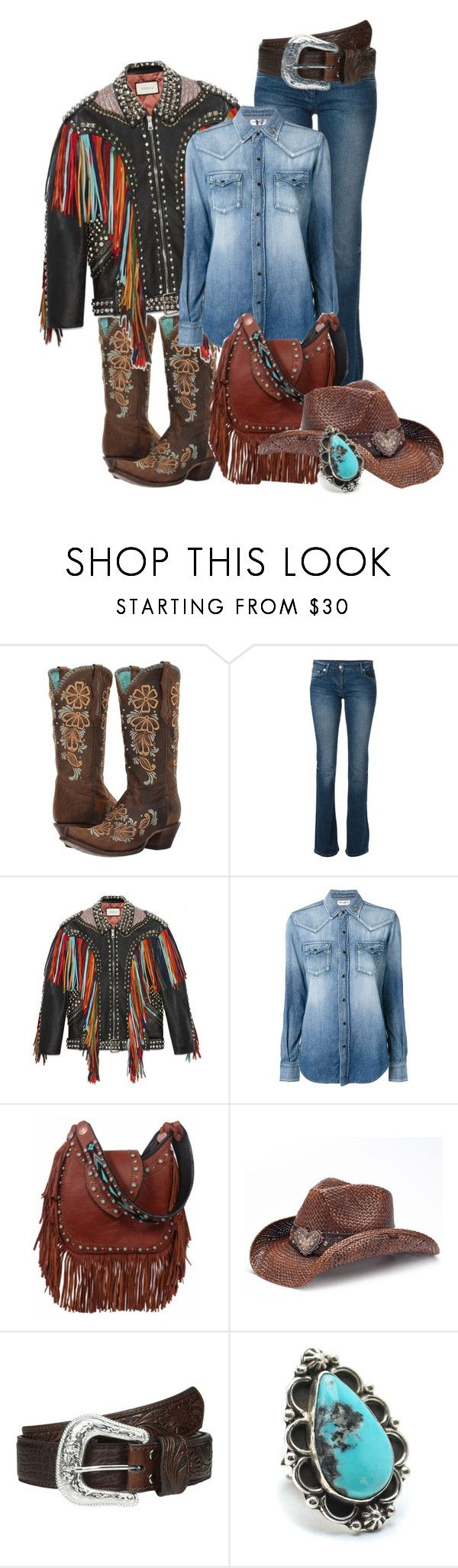 """- 61 - Western - Bag & Shoes"" by atenaide86 ❤ liked on Polyvore featuring Corral, Roberto Cavalli, Gucci, Yves Saint Laurent, Peter Grimm, M&F Western and Child Of Wild"