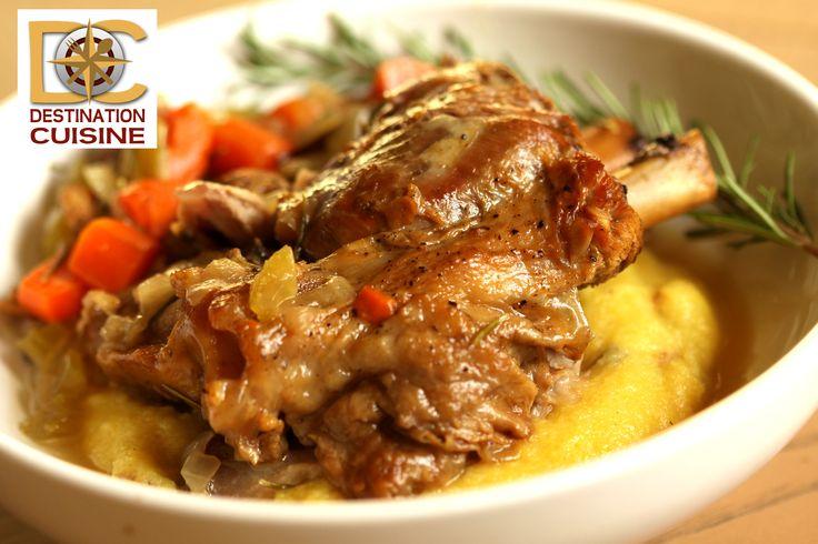 Slow Cooked Braised Pork Shank over Wild Mushroom Polenta
