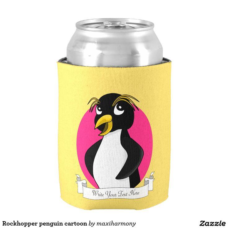 Rockhopper penguin cartoon can cooler