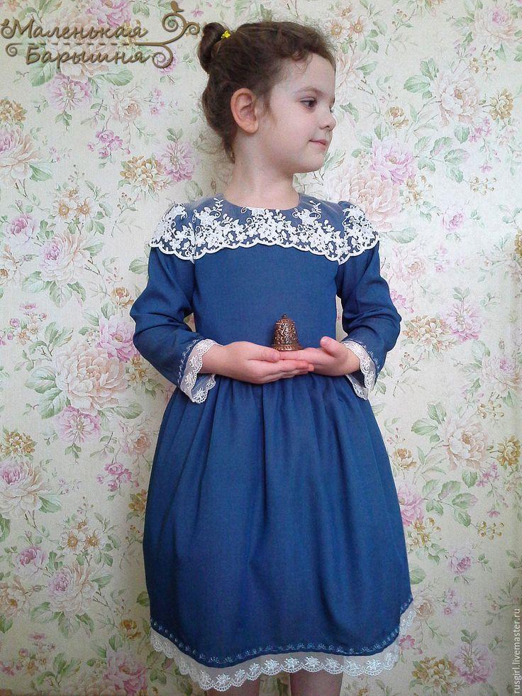 """Купить Платье """"Верочка"""" для девочки - синий, орнамент, Платье нарядное, платье для девочки, платье на заказ"""