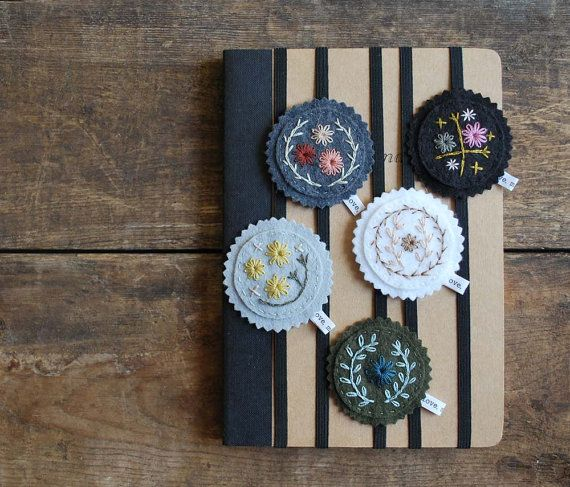 Sew Your Own Bookmark Set Embroidery Kit by lovemaude on Etsy