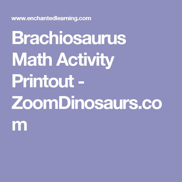 Brachiosaurus Math Activity Printout - ZoomDinosaurs.com