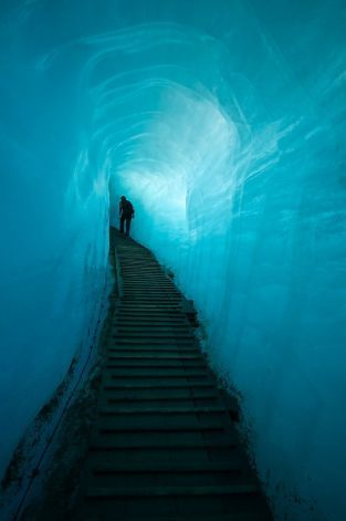 The man-made tunnel inside the Rhone Glacier. Valais, Switzerland. Photo: Lance Richardson / SF