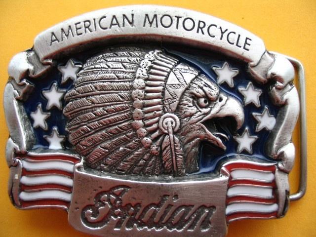 INDIAN EAGLE BIKER MOTORCYCLE OLD MOTO BIKE BELT BUCKLE