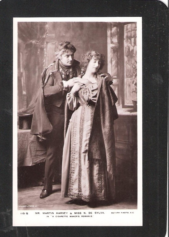 British Edwardian Stage Star Actress Miss De Silva and Mr Martin Harvey in A Cigarette Makers Romance Theatre theatrical playscene_         Etsy THEPOSTCARDSHOP
