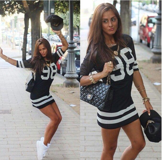 Football jersey dress. Snap back