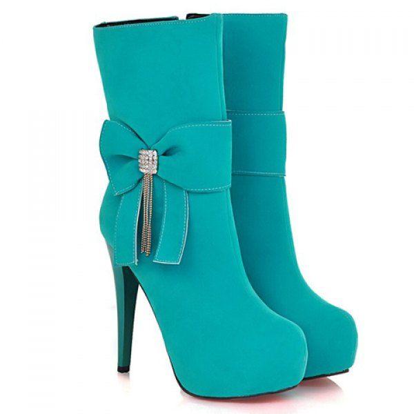 Trendy Rhinestones and Bow Design Women's Stiletto Mid-calf Boots