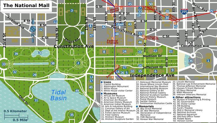Printable Map Washington DC  National Mall Map