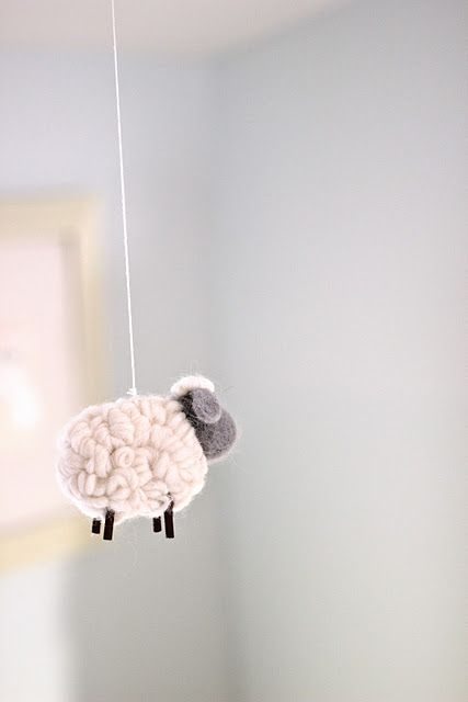 Light Blue Nursery Soft Lambs, Sheep, Baby Room | Blue, Cream, White Baby Nursery http://jennysteffens.blogspot.com/2012/01/emmas-nursery-soft-cuddly-nursery-pale.html