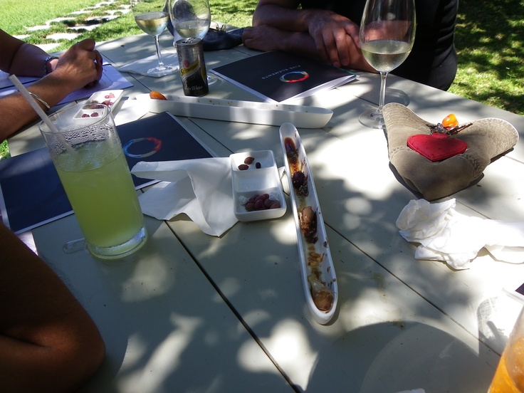 Olives and wine under the trees at St Francis Bay
