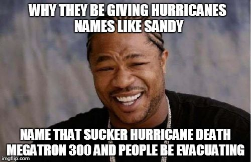 Yo Dawg Heard You | WHY THEY BE GIVING HURRICANES NAMES LIKE SANDY NAME THAT SUCKER HURRICANE DEATH MEGATRON 300 AND PEOPLE BE EVACUATING | image tagged in memes,yo dawg heard you | made w/ Imgflip meme maker