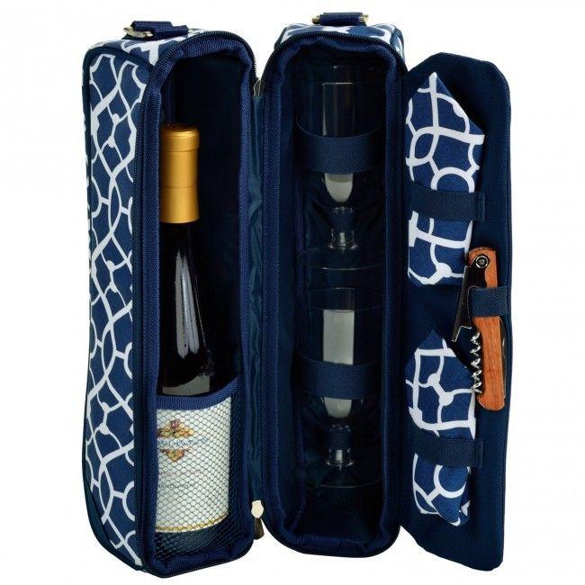 Bolsa para garrafa de vinho - acompanha 2 taças de acrílico, 2 guardanapos e saca rolhas - Azul com treliças - Amantes do Vinho - Casa e Cozinha