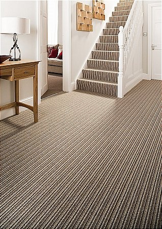 Striped carpet for stairway.