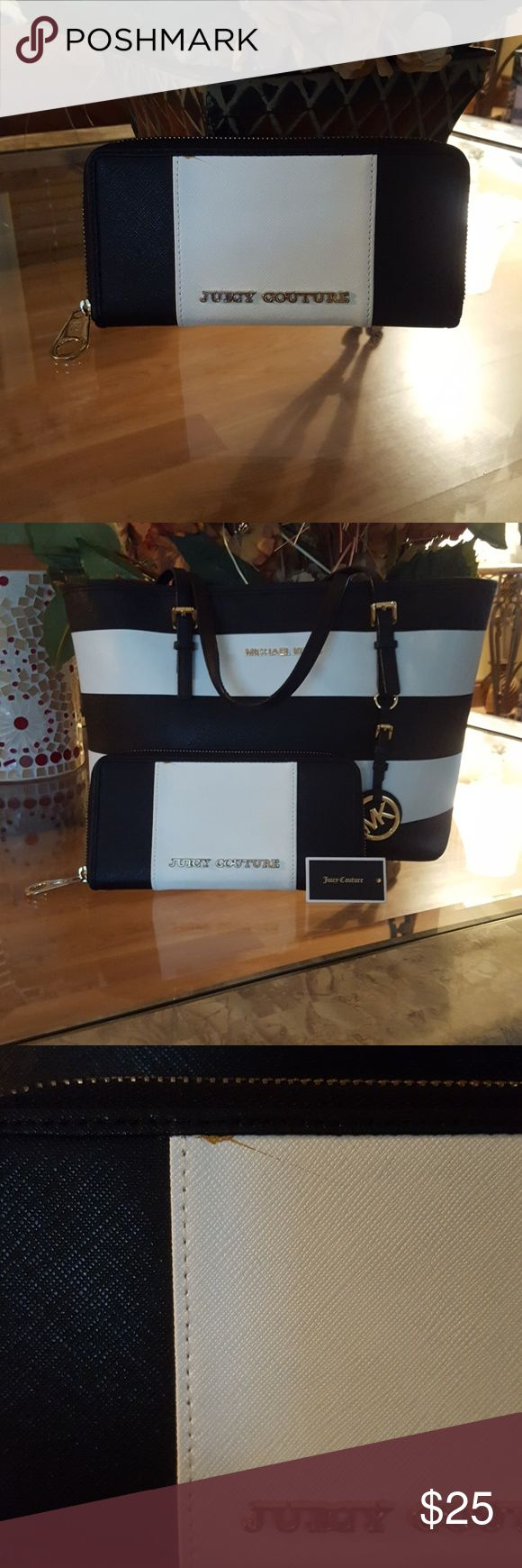 Juicy Couture wallet! In great condition. Exterior has a yellow stain as seen in picture i bought it like that, juicy Couture label a little rusty other than that in excellent condition. Interior excellent condition. Matches my MK jet set in selling! Make offer! Juicy Couture Bags Wallets