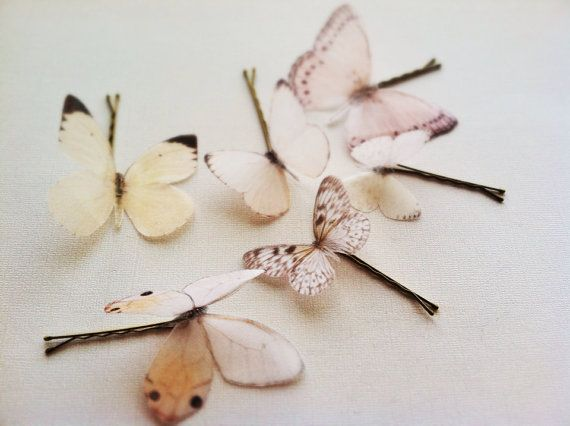 6 Silk Organza Butterfly Hairpins Butterfly Head by AnnaMarguerite