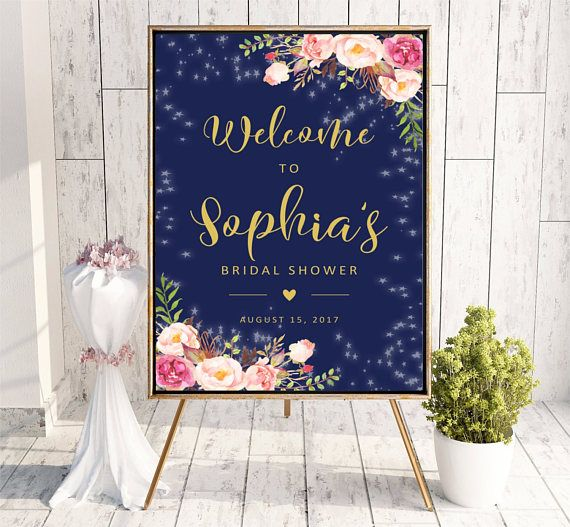 Welcome to Bridal Shower sign Navy Blue Pink Gold Printable